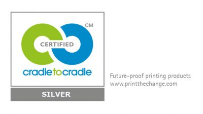Cradle to Cradle Logo with subline future-proof: printing products by the community.