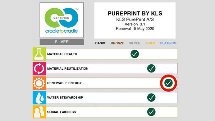 Certification level of KLS Pureprint: Platin level for Energy